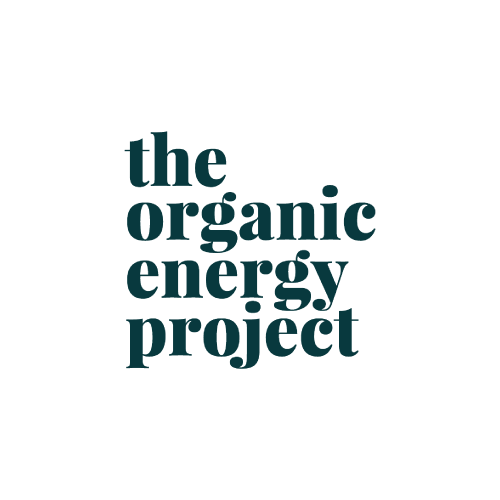 Markenlogo the organic energy project in Grau